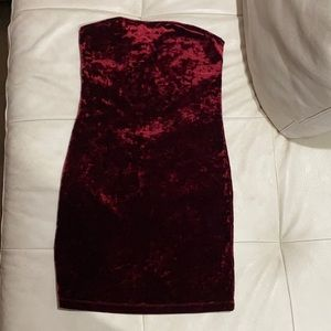 a strapless burgundy mini dress from garage